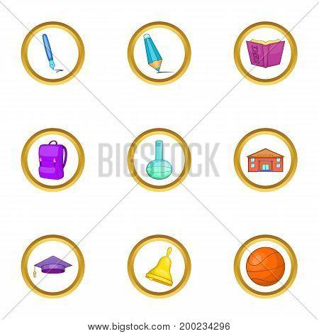 Teacher icons set. Cartoon illustration of 9 teacher vector icons for web design