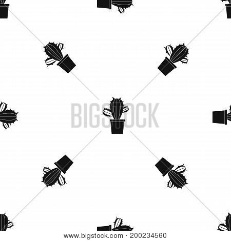Cactus houseplants in pot pattern repeat seamless in black color for any design. Vector geometric illustration