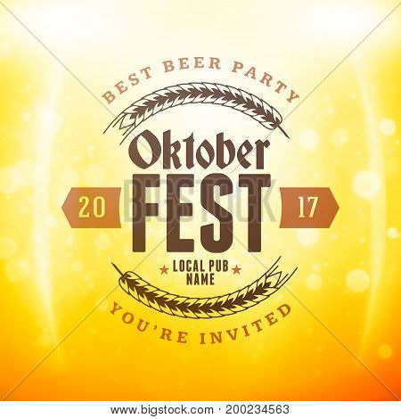 Beer Festival Oktoberfest Celebrations. Vintage Beer Badge On The Golden Beer Background With Light