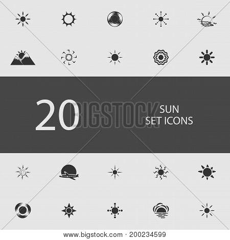 Sun set of flat icons. Simple vector illustration