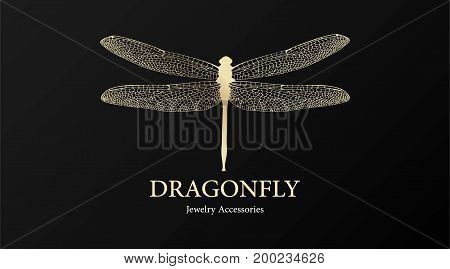 Vector Logotype For Jewelry Boutique, Store, Shop. Elegant Gold Dragonfly Silhouette At Black Backgr