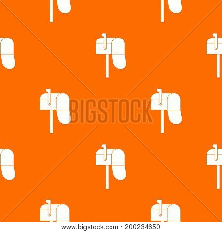 Open mailbox pattern repeat seamless in orange color for any design. Vector geometric illustration