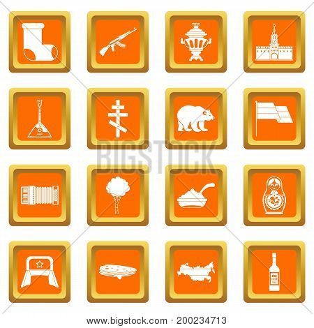 Russia icons set in orange color isolated vector illustration for web and any design