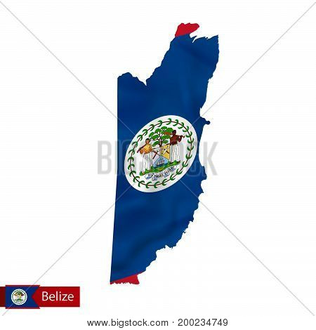 Belize Map With Waving Flag Of Country.