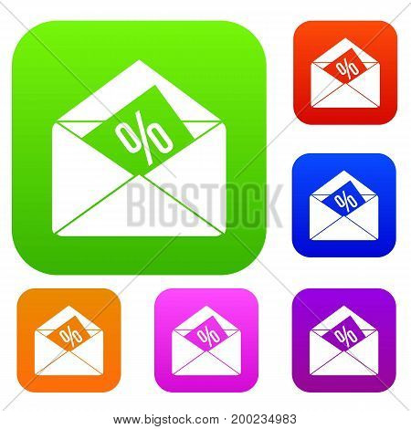 Envelope with percentage set icon in different colors isolated vector illustration. Premium collection