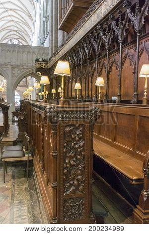 CHICHESTER, WEST SUSSEX, UK, 16 NOVEMBER 2013 - Ornate choir stalls Chichester cathedral, West Sussex, UK