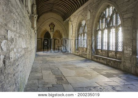 CHICHESTER, WEST SUSSEX, UK, 16 NOVEMBER 2013 - Early fifteenth century cloisters at Chichester Cathedral. West Sussex UK