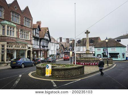 ARUNDEL, WEST SUSSEX, UK, 17 NOVEMBER 2013 - The war memorial in the High Street in Arundel West Sussex UK