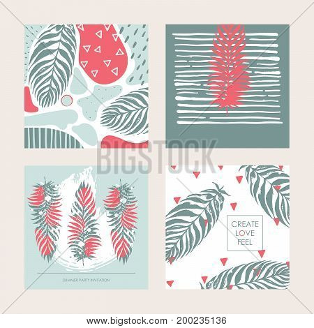 Vector set with decorative set of square cards in pastel colors. Design dedicated to summer tropics and palm leaves. Place for creative lettering and hand drawn textures.