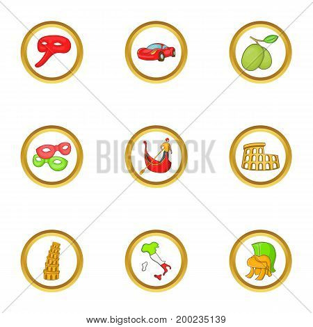 Attractions of Italy icon set. Cartoon style set of 9 attractions of Italy vector icons for web isolated on white background