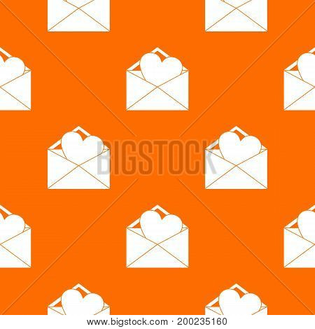 Open envelope with heart pattern repeat seamless in orange color for any design. Vector geometric illustration