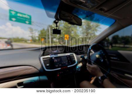 Blur Image, People Travel Road Trip Driving Modern Car