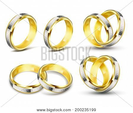 Set of realistic vector illustrations of gold wedding rings with elements of silver, platinum and engraving with shadow, isolated on white. Print, template, design element