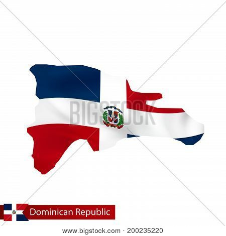 Dominican Republic Map With Waving Flag Of Country.