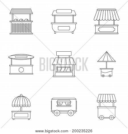 Market stall icon set. Outline style set of 9 market stall vector icons for web isolated on white background