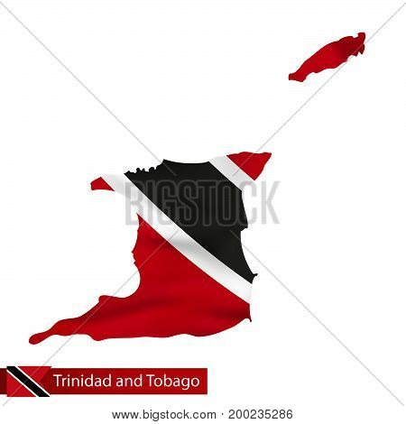 Trinidad And Tobago Map With Waving Flag Of Country.