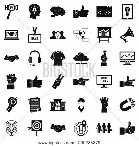 Ok gesture icons set. Simple style of 36 ok gesture vector icons for web isolated on white background