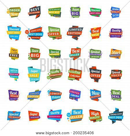 Big set of colorful discount and promotional sale origami stickers. Folded paper with advertising tags. Vector design elements for website flyer poster