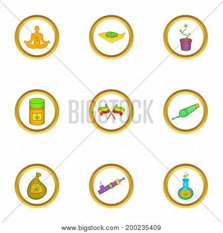 Rastafarian icon set. Cartoon style set of 9 rastafarian vector icons for web isolated on white background