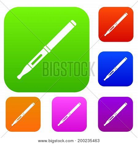 Mod and clearomizer in the kit set icon in different colors isolated vector illustration. Premium collection
