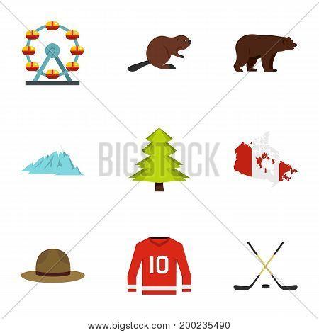 Landmarks of Canada icon set. Flat style set of 9 landmarks of Canada vector icons for web isolated on white background