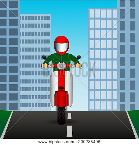 Scooter rides on asphalt road in middle of city. Vector Image.