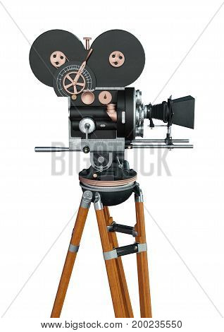 3D rendering of a filmmaker movie camera isolated on white background