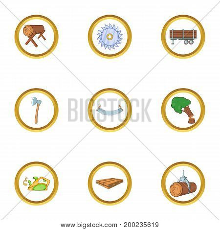 Sawmill icon set. Cartoon style set of 9 sawmill vector icons for web isolated on white background