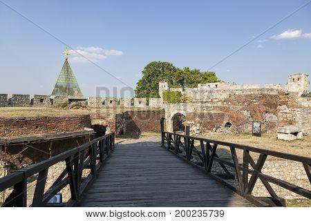 BELGRADE, SERBIA - JULY 31, 2017:Fragment of the Belgrade fortress with a bridge Serbia.