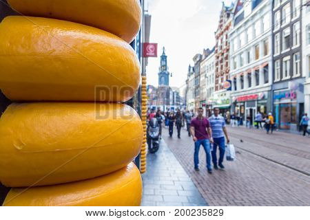 Amsterdam the Netherlands - 13 August 2017: busy tourist street in Amsterdam and cheese shop