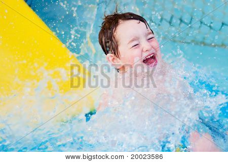Boy splashes down after water slide ride