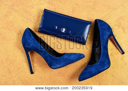 Shoes And Clutch In Dark Blue Color. High Heel Footwear