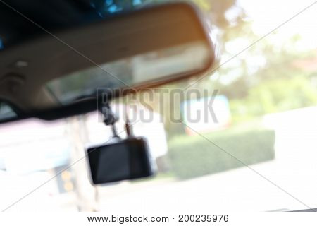 Abstract Blur Video Camera Record Technology On Windscreen Vehicle Car