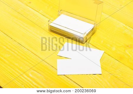 Transparent Business Card Holder With Blank Papers