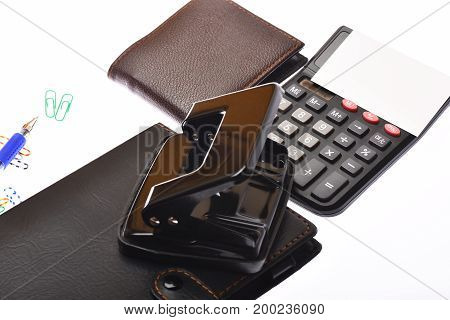 Leather Covered Notebook, Wallet, Hole Punch, Pen And Clips