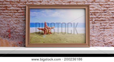Frame with sandy beach on a white shelf - bricks wall background. 3d illustration