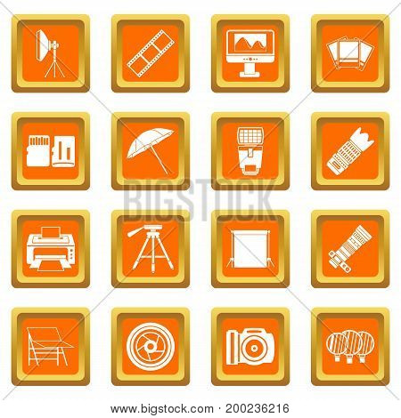 Photo studio icons set in orange color isolated vector illustration for web and any design