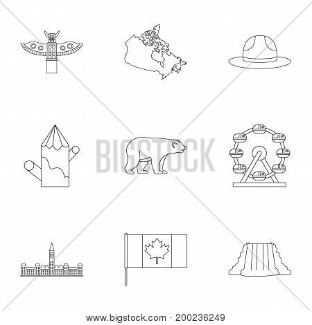 Canada travel icon set. Outline style set of 9 Canada travel vector icons for web isolated on white background