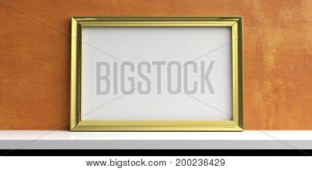 Golden Frame On A White Shelf - Stucco Wall Background. 3D Illustration