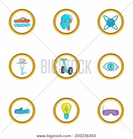 New technology icon set. Cartoon style set of 9 new technology vector icons for web isolated on white background