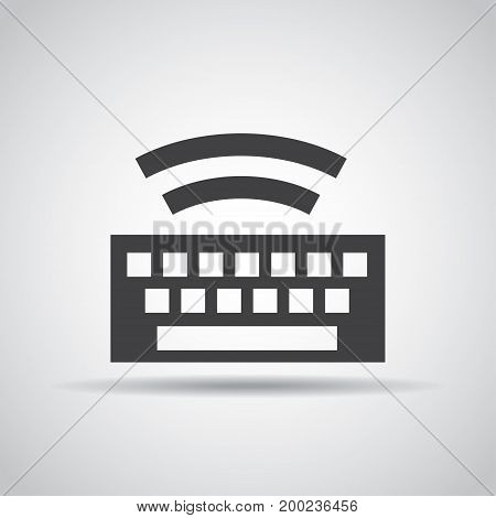 Keyboard icon with shadow on a gray background. Vector illustration