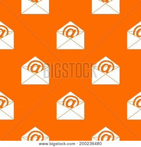 Envelope with email sign pattern repeat seamless in orange color for any design. Vector geometric illustration