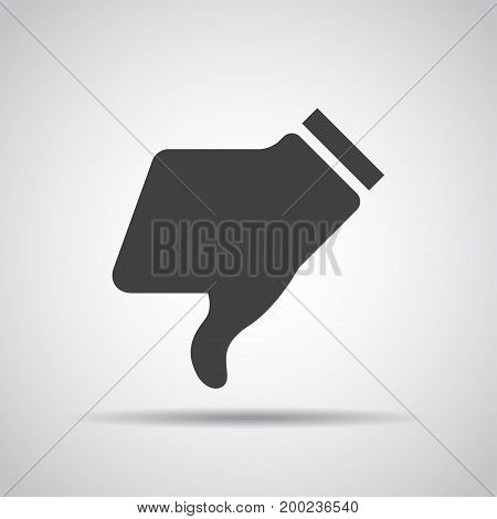 Dislike icon with shadow on a gray background. Vector illustration