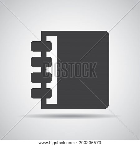 Notebook icon with shadow on a gray background. Vector illustration