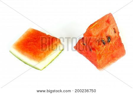 close-up of watermelon sliced with rind isolated on white background