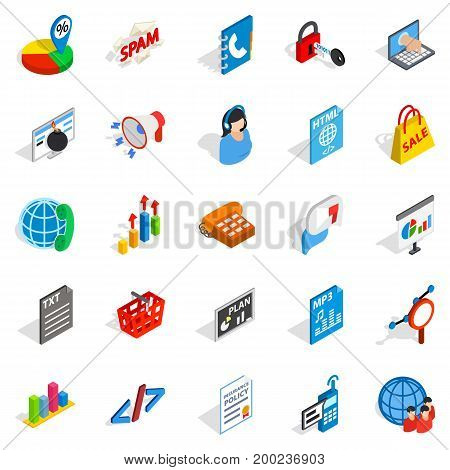 Notification icons set. Isometric set of 25 notification vector icons for web isolated on white background
