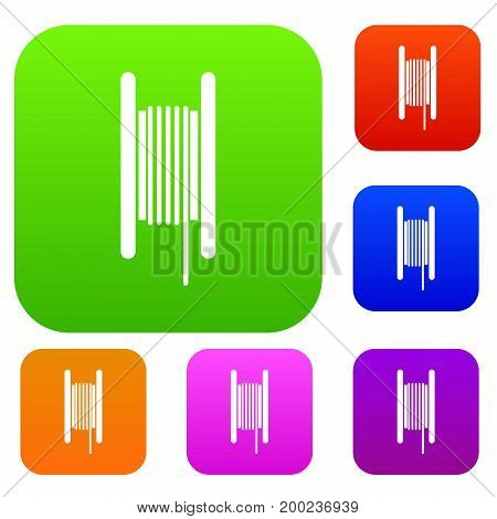 Electric cable in coil set icon in different colors isolated vector illustration. Premium collection