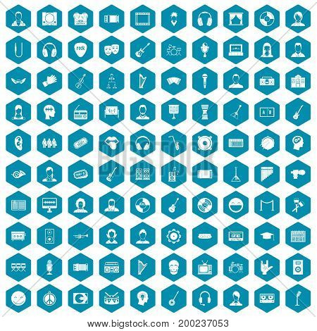 100 audience icons set in sapphirine hexagon isolated vector illustration