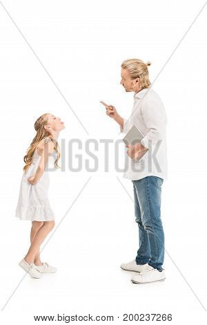 side view of father with tablet abusing preteen girl isolated on white