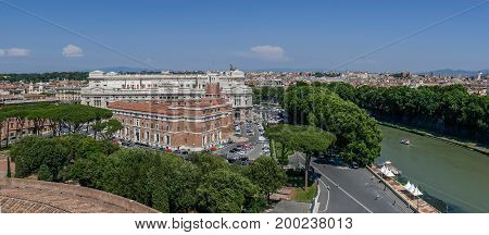 ROMEITALY - MAY 312017: Panoramic aerial view of the old town of Rome from San Angelo castle with Corte Suprema di Cassazione in background.Old town of Rome is listed under the UNESCO world heritage